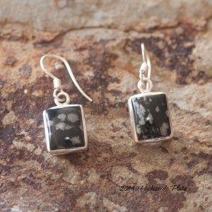 Pendientes de plata con obsidiana de Hechizo de Plata Joyeria