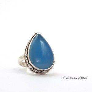 Anillo de plata con calcedonia azul de Hechizo de plata Joyería