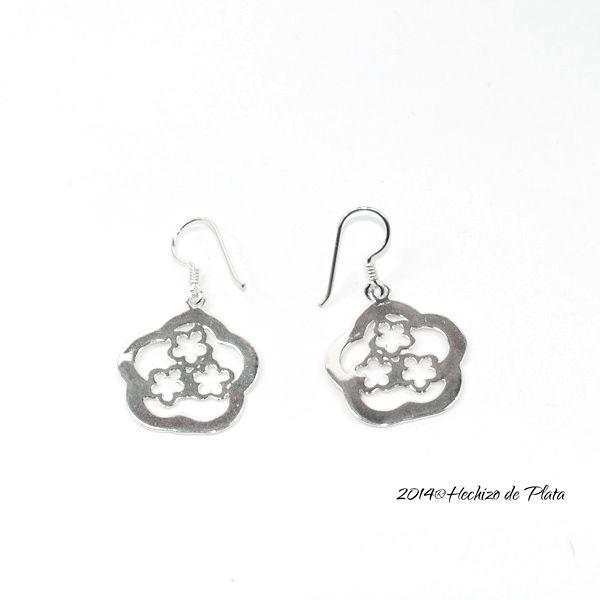 Pendientes de plata con 3 flores