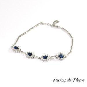 Pulsera de plata con circonitas azules de Hechizo de Plata Joyeria