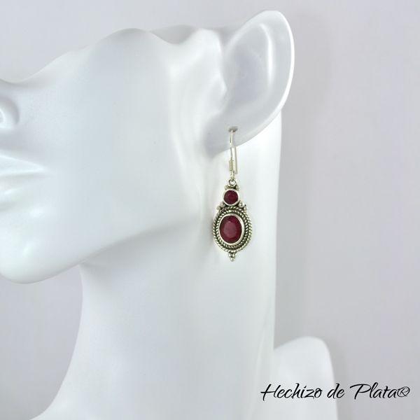 Pendientes de plata con rubí  estilo boho de Hechizo de Plata Joyería