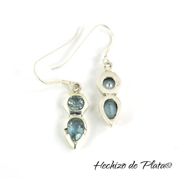 Pendientes de plata con topacio azul de Hechizo de Plata Joyería