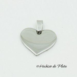 Placa corazón de acero de Hechizo de Plata Joyería