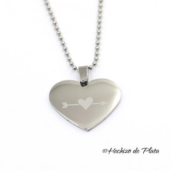 Colgante de acero  corazón personalizable de Hechizo de Plata Joyería