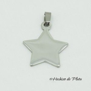 Placa estrella de acero para grabar de Hechizo de Plata Joyería