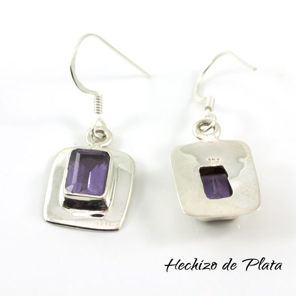 Pendientes de plata con amatista cuadrada de Hechizo de Plata Joyería
