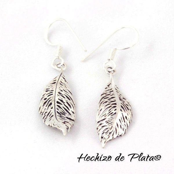 Pendientes de plata en forma de pluma de Hechizo de Plata Joyería