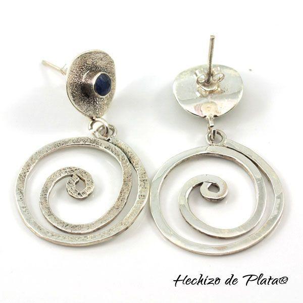 Pendientes de plata con zafiro de Hechizo de Plata Joyería