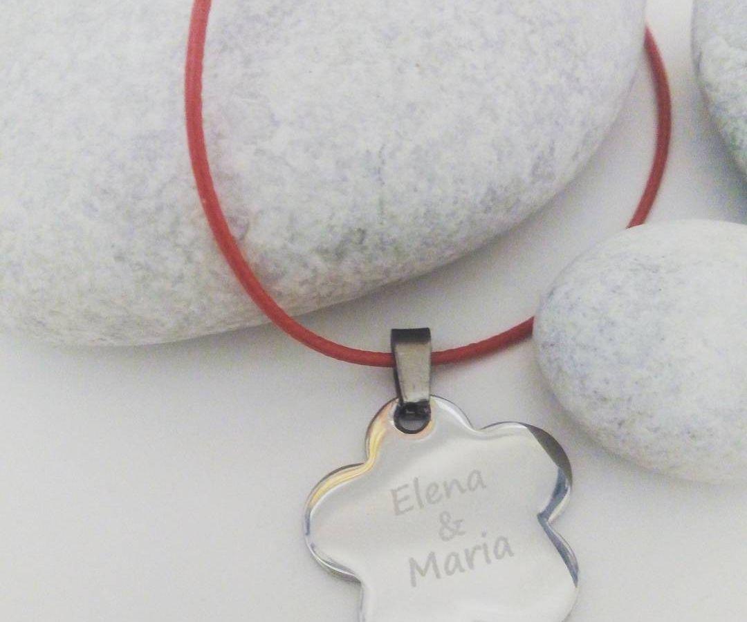 Colgante de acero con cordón de algodón de Hechizo de Plata Joyería