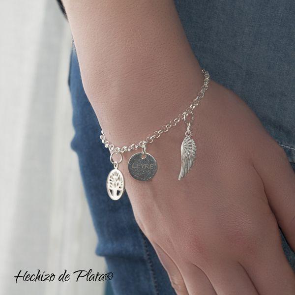 Pulsera de plata personalizable con amuletos de Hechizo de Plata Joyería