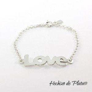 Pulsera de plata personalizada LOVE