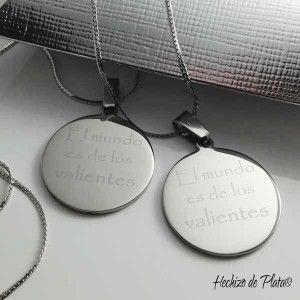 Colgante con placa de acero redonda de Hechizo de Plata Joyería