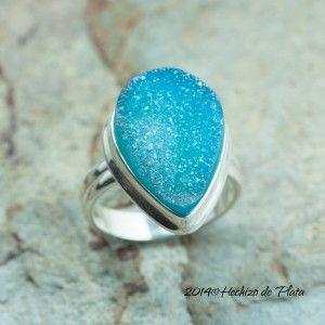 Anillo de plata gota azul de Hechizo de Plata Joyería