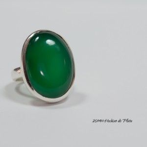 Anillo de plata maxi con onix verde de Hechizo de Plata Joyería