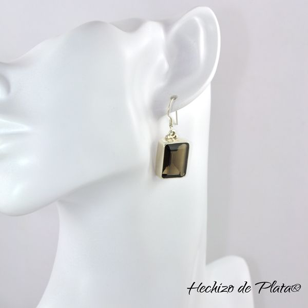 Pendientes de plata con cuarzo ahumado modernos de Hechizo de Plata Joyería