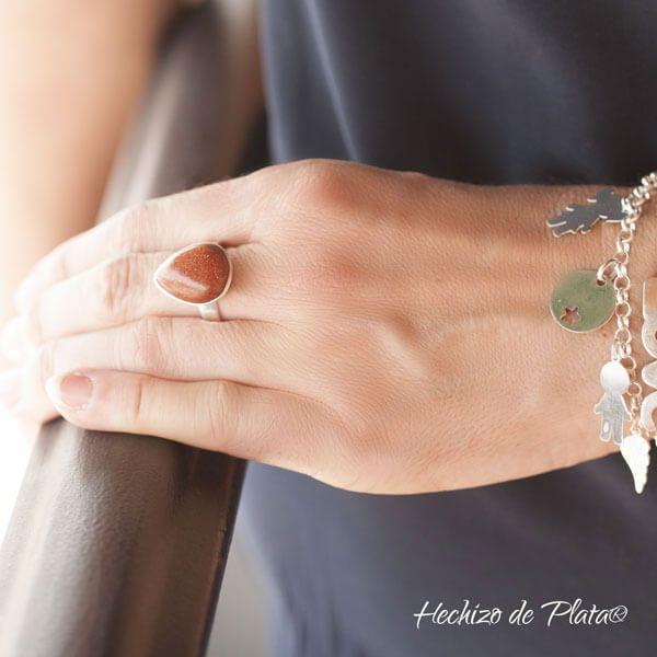 Anillo de plata aventurina de Hechizo de Plata joyería