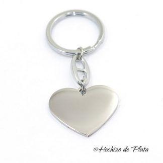 LLavero de acero personalizado corazón de Hechizo de Plata Joyería