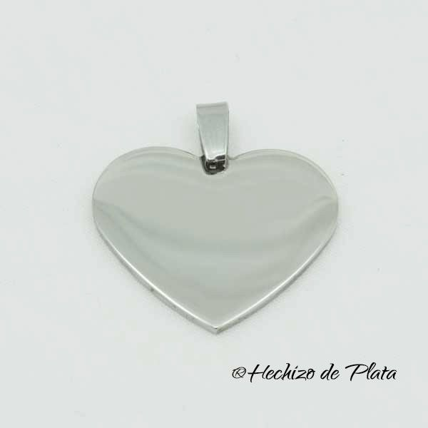 Placa corazón de acero para grabar de Hechizo de Plata Joyería