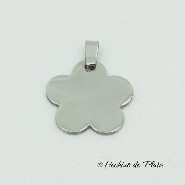 Placa flor de acero para grabar de Hechizo de Plata Joyería