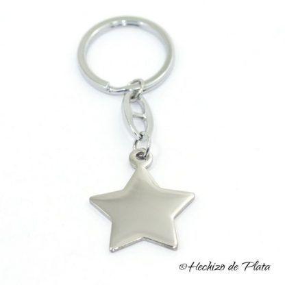 Llavero con placa estrella de acero de Hechizo de Plata Joyería