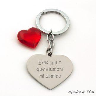 llavero corazon personalizado de acero de Hechizo de Plata joyeria