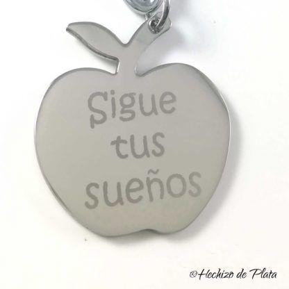 Llavero con placa manzana de acero para grabar de Hechizo de Plata Joyería