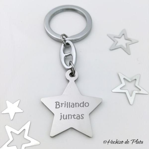 llavero personalizado estrella de acero de Hechizo de Plata joyería