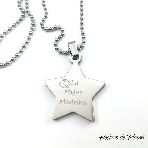 LLavero de acero personalizable estrella de Hechizo de Plata Joyería