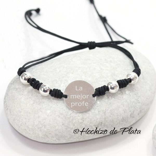Pulsera de plata personalizable con plata y bolas con cordón negro de Hechizo de plata Joyería