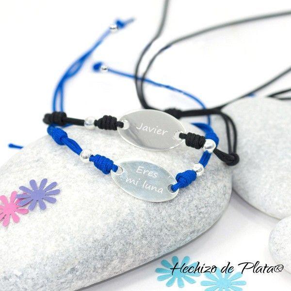 Pulsera personalizable con placa de palta y cordón de Hechizo de Plata joyeria