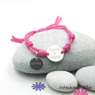 Pulsera de plata personalizada con cordón rosa de Hechizo de Plata Joyería