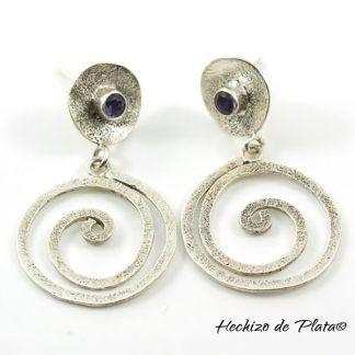 Pendientes de plata con amatista de Hechizo de Plata Joyeria