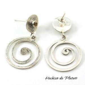Pendientes de Plata con espiral y citrino de Hechizo de Plata Joyería