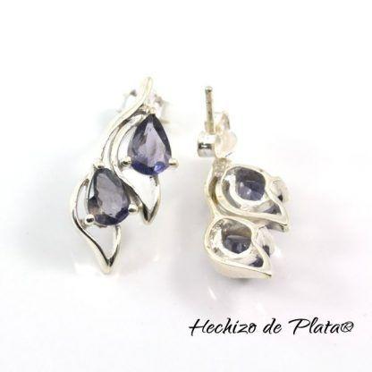Pendientes de Plata con Iolita Azul de Hechizo de Plata Joyería