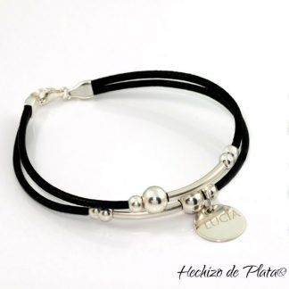 Pulsera personalizada de cuero y plata de Hechizo de Plata Joyería