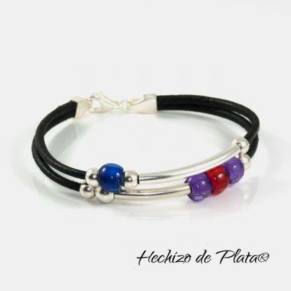 pulsera de cuero personalizada para mujer con cuentas de colores