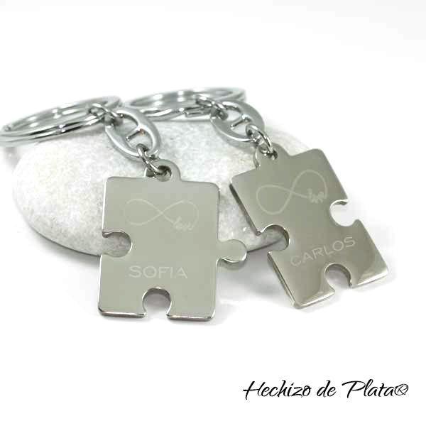 Llavero con doble placa puzzle de acero