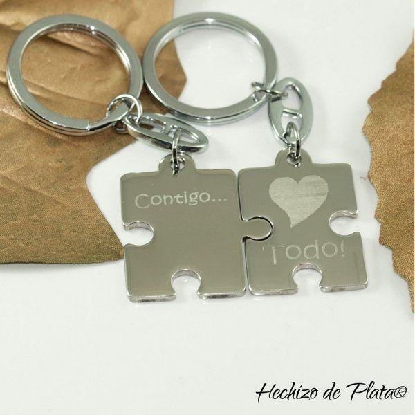 lavero personalizado de acero puzzle de Hechizo de Plata Joyería