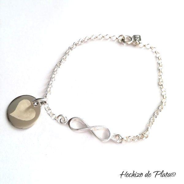 Pulsera de plata infinito personalizada de Hechizo de Plata Joyería