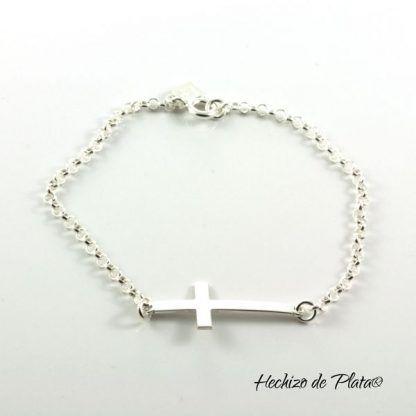 Pulsera de plata con cruz personalizable de Hechizo de Plata Joyería