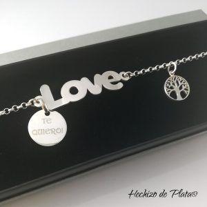ulsera de plata personalizada LOVE