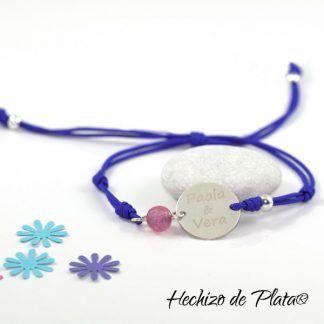 Pulsera personaliza con plata y cordón de Hechizo de Plata Joyería
