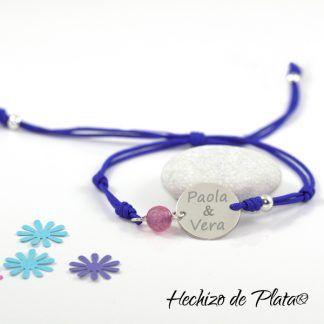 Pulsera personalizada en cordón y plata de Hechizo de Plata joyería