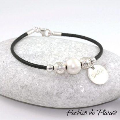 Pulsera de cuero con plata y perla de Hechizo de Plata Joyería