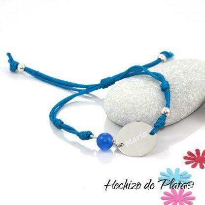 Pulsera personalizable con plata y cordón de Hechizo de Plata Joyería