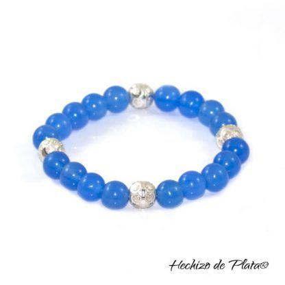 Pulsera de piedras ágatas azules para personalizar con medalla de Hechizo de Plata Joyería