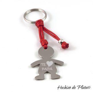 Llavero de acero niño para papa personalizado de Hechizo de Plata joyería