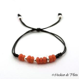 pulsera personalizada en cordón con cuentas de Hechizo de Plata joyería