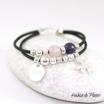Pulsera personalizada en plata y piedras en cuarzo rosa y amatista de Hechizo de Plata Joyería