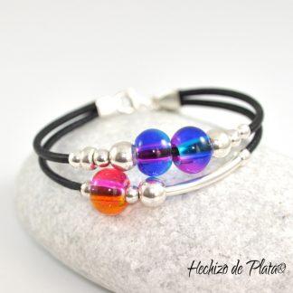 Pulsera personalizada con cristal y cuero de Hechizo de Plata joyería